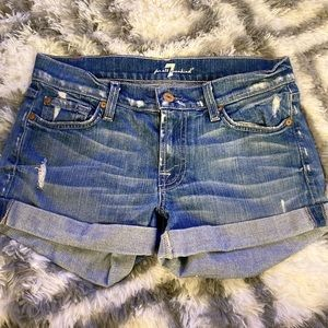 7 For all mankind fold over Jean shorts